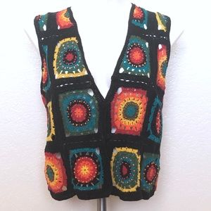 Reference Point rainbow beaded crochet vest sz. M